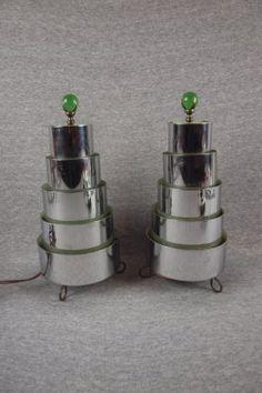 "Art Deco Chrome Pair Of Lamps, 12"""