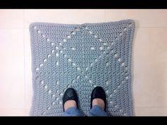 How to Crochet a T-shirt Yarn Square Rug (DIY Tutorial) - YouTube