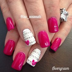 hot pink valentine nails with bling