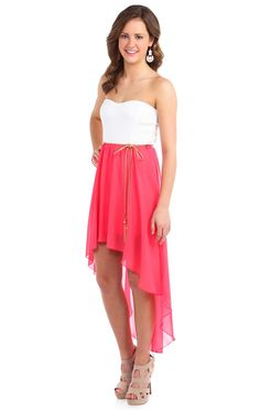 Deb Shops #coral strapless belted chiffon high low casual #dress