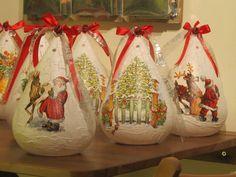 decoupage Christmas Bulbs, Xmas, Handmade Christmas, Decoupage, Holiday Decor, Home Decor, Decoration Home, Christmas Light Bulbs, Room Decor