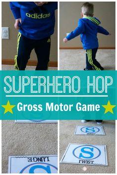 Superhero Gross Motor Game – Superhero Hop A fun gross motor game for your… Superhero Games For Kids, Superhero Preschool, Gym Games For Kids, Superhero Classroom, Yoga For Kids, Exercise For Kids, Superhero Party, Kids Workout, Pe Games