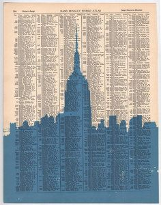 new york city urban silhouette printed onto page of an antique atlas