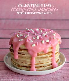 Valentine's Day Cherry Chip Pancakes with Cheesecake Sauce Recipe