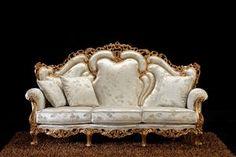 Alba 3-seater sofa, Baroque sofa, with handmade carvings