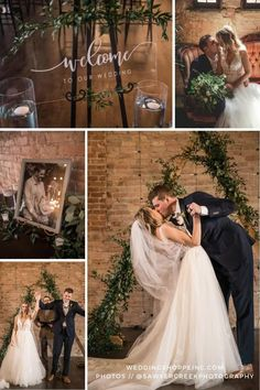 This industrial wedding day was filled with greenery, brick, cafe lights, and a triangle archway as the ceremony backdrop. It was made perfect by the bride's feminine boho wedding dress from the Wedding Shoppe! | Rebecca Ingram Raelynn wedding dress can be yours - shop online or in store today! #weddingdressshopping #weddingideas #ceremonydecor #receptiondecor #ceremonybackdrop #industrialwedding Wedding Dress Shopping, Boho Wedding Dress, Wedding Dresses, Wedding Reception Decorations, Wedding Ceremony, Brick Cafe, Wedding Colors, Wedding Styles, Wedding Shoppe
