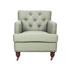 Behold the Regal Tufted Club Chair, an elegant study of mid-century décor spiked with a little bit of Eastern flair. Featuring rounded legs capped with wheels, a choice of fabric or leather upholstery,...  Find the Regal Tufted Club Chair, as seen in the Lovely French Farmhouse Collection at http://dotandbo.com/collections/lovely-french-farmhouse?utm_source=pinterest&utm_medium=organic&db_sku=97219