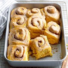 Pretty Pumpkin Cinnamon Buns Recipe -I make sticky buns and cinnamon rolls quite often because my husband loves them. One day, I had some fresh pumpkin on hand and decided to try pumpkin cinnamon buns. We loved the results! —Glenda Joseph, Chambersburg, Pennsylvania