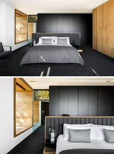 In this modern master bedroom, a window seat nook has been created and matches the wood accent wall, while black cabinetry and carpets compliments the grey tones in the bedding and on the headboard. #ModernBedroom #BlackBedroom #BlackAndWood #BedroomDesign