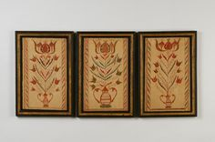 """Group of 3 Fraktur Drawings of Potted Tulips  Found in an 1814 Lancaster Bible.  ~ ITEM DETAILS ~  Dimensions: 15 ¼"""" x 10 ¼"""" framed  Date / Circa: c. 1820  Maker / Origin: S.E. Pennsylvania  Medium: Watercolor on paper in period carved, painted and gilded frames.  Miscellaneous: Excellent condition"""