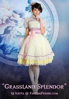 "Qi & Gothic Lolita ""Grassland Splendor"" Dress Set*4pcs"
