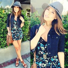 Olive & Pique Feather Fedora, Theory Black Denim Cropped Jacket, Cope Floral Romper, Marciano  Black Gold Belt, Matt Bernson Wedges, Zara Fringe Bag, Bellomina Angel Wing Necklace, Urban Outfitters Ring