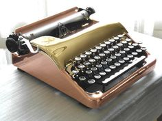 Restored Typewriter 1941 Corona Standard Plated in Copper Gold w Turboplaten. I can't believe how gorgeous this is.