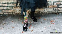 Priscilla Sutton shows off her prosthetic leg - with a design by artist Mark Ryden
