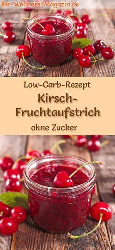 Low-Carb-Rezept für Kirsch-Marmelade ohne Zucker: Kohlenhydratarmer Fruchtaufstrich - gesund, kalorienreduziert, zuckerfrei, mit viel Frucht ... #lowcarb #marmelade #zuckerfrei #kirschen