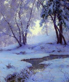 """athousandwinds: """"  Winter Landscape, oil on canvas by Walter Launt Palmer, American, 1854-1932. Palmer was a part of the Hudson River School of painting and was the 19th century's most celebrated..."""