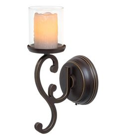 Another great find on #zulily! Rubbed Bronze Melted Flameless Pillar Candle & Swirl Sconce by Candle Impressions #zulilyfinds