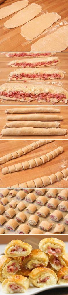Préchauffer le four à 180° Étaler la pâte feuilletée Y déposer le jambon de façon à ce que la pâte soit un maximum recouverte Vérifier que les tranches ne se superposent pas Recouvrir de gruyère de façon homogène Rouler la pâte afin de former un boudin, le plus serré possible Mettre au frais 1h pour faciliter la coupe des roulés Couper des tranches d' 1cm Les déposer à plat dans une plaque recouverte de papier sulfurisé Enfourner environ 15 minutes, les roulés doivent être dorés.