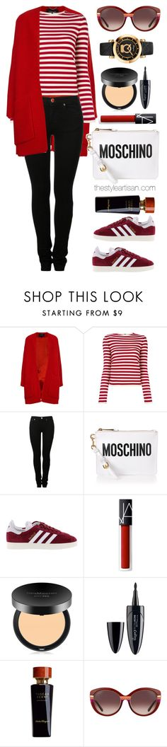 """""""Derek Lam Red Boucle Collarless Swing Coat"""" by thestyleartisan ❤ liked on Polyvore featuring Derek Lam, Sonia Rykiel, MM6 Maison Margiela, Moschino, adidas, NARS Cosmetics, Bare Escentuals, Maybelline and Salvatore Ferragamo"""
