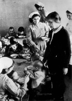 Lodz, Poland, Children and nannies in a children's home in the ghetto.