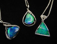 1590 best opal pendants images on pinterest in 2018 jewels opal trio of boulder opal pendants bright blues diamonds and white gold they are aloadofball Image collections