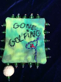 Gone golfing pin brooch by EuthymicThreads on Etsy
