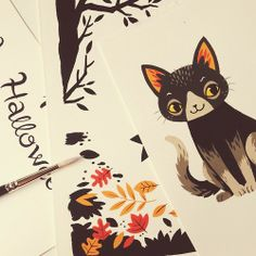 working on two halloween projects this week!! i am so happy, please hire me for all the halloween things!- Taegan White