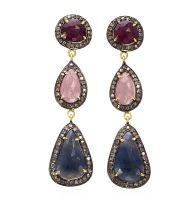 Ruby and Sapphire Diamond Drop Earrings