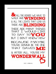 A3 Oasis Wonderwall   Print Typography song by RTprintdesigns, £11.99