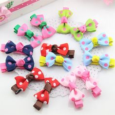 2Pcs/lot Kids Hair Clips For Girls Candy Color Dot Print Ribbon Bow Hairpin BB Hair Clips for Baby Girls Kids Hair Accessories