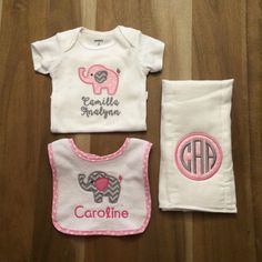 Baby Girl Pink Elephant Gift Set : by LittleLettersShop on Etsy