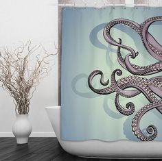 "Purple & Teal Octopus Shower Curtain These curtains measure 69"" x 70"" or 70"" x 90"" and are 100% polyester. I print your custom image right onto the fabric using a process that is soft to the touch and"