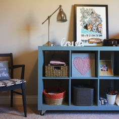 Expedit Ikea bookshelf painted duck egg blue with Annie Sloan chalk paint.