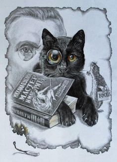 The Russian illustrator Aleksandr Botvinov made a series of illustrations of 'The Master and Margarita' with contemporary faces. Amazing Drawings, Art Drawings, Bulgakov Master And Margarita, Aliens, The Master And Margarita, Black Cat Art, Dark Tattoo, Comic Panels, Illustrations And Posters