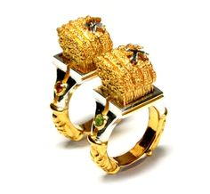Jichang Chai Rings: Good Harvest, 2012 Silver, 14Kgold plate, olivine 3 x 2 x 1.2/0.6 cm