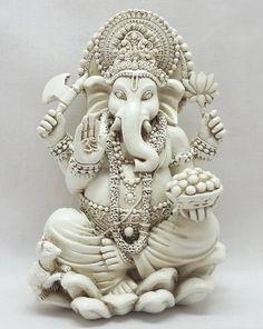 Rare Lord Ganesh Ganesha Beautiful Statues Hindu Good Luck God - White Statues bombayjewel,http://www.amazon.com/dp/B00FZIZNSQ/ref=cm_sw_r_pi_dp_zga8sb0F7CXRWT3E