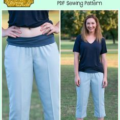 These loose, relaxed fit pants will help get you through those warmer months in comfort! Drafted for non-stretch woven fabrics with a softer drape (linen, linen blends, rayon, chambray, crepe) will keep you cool in the summer.  They are a looser through high hip and hip, pull on pant that come in semi-fitted through legs and have a slight boot cut flare for pant length. Options are endless! Shorter shorts with curved hem or cuffed (optional button tab), bermuda length shorts, capri length…