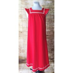 """Cute Handmade Vintage Long Red Dress This is so much fun! It was made by """"Sharon"""" with love and it can be yours! I am really trying not to keep this one!!! Made w/thick red material & features a pinkish trim around arms $ neckline. It also has a white w/pink & green floral detail on bodice & bottom of the dress. There is no size tag but it is pretty versatile in size as there is widens a bit at bottom. It fits me, so I would say small/medium. It measures 17 1/2 from armpit to armpit…"""