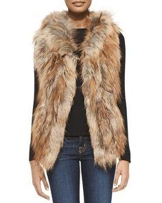 Adrienne Landau   Hooded Fox Fur Vest #adriennelandau #foxfur #vest