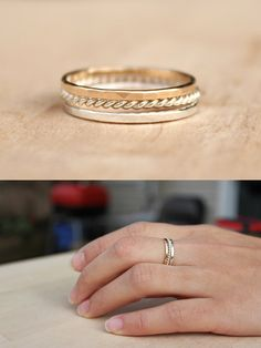 Thin stacking rings. Cute bridesmaid gift? From Bluesunflowers on Etsy.