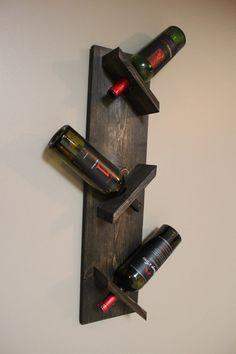 Wood Wine Rack Rustic Wine Rack 3 bottle by YellowFernStudio