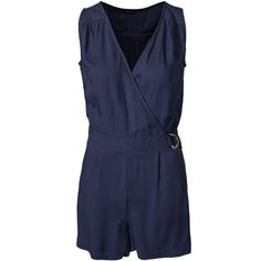 New Look D-Ring Wrap Playsuit (£18) ❤ liked on Polyvore featuring jumpsuits, rompers, navy, womens-fashion, embellished jumpsuit, navy blue jumpsuit, tall romper, navy blue rompers and v neck jumpsuit
