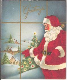 Vintage Christmas Card Flocked Santa Claus at The Window | eBay