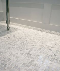 Carrera Marble Mosaic Tile For Master Bathroom Shower Floor.
