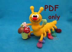 Caterpillar, crochet toy, amigurumi, PDF pattern