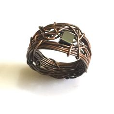 Wire Wrapped Jewelry Handmade, Antiqued Copper, Mens ring, Hematite Ring, Vintage Ring by AOAjewelry on Etsy https://www.etsy.com/listing/189114389/wire-wrapped-jewelry-handmade-antiqued
