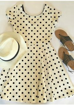 Spring Fashion Dress: On-trend polka dot print dress in cream and black. Perfect for work wear or weekend wear. Comes with a belt. Free shipping on orders $50 and over. Come shop with us!