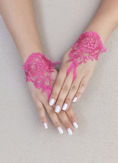 Pink, fuchsia french lace gloves fingerless glove free ship, wedding glove,tea party, christmas gifts