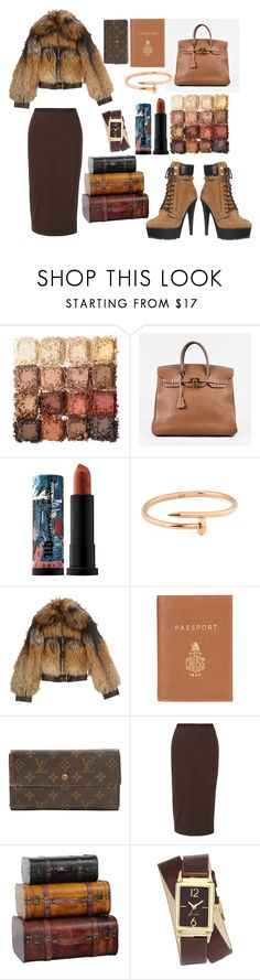 """airport style."" by comerttaylan ❤ liked on Polyvore featuring River Island, Ultimate, Hermès, Urban Decay, Alexander McQueen, Mark Cross, Louis Vuitton, Rick Owens and Nine West"