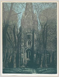 St Mary the Virgin, Saffron Walden, Linocut by Paul Beck. Tower of St Mary's church viewed through an avenue of trees in blues, greens and gold.
